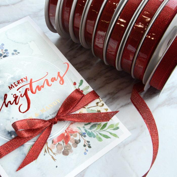 AR015 紅金蔥緞帶